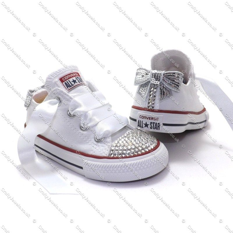 b9a3c5aaaaa1 Swarovski or Diamante Crystal Kids Lo Top Converse In White