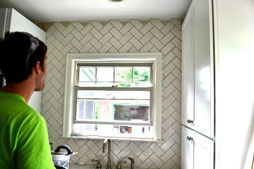 White Subway Tile With Dark Grout Herringbone Pattern For Backsplash Herringbone Subway Tile Subway Tile Patterns Herringbone Wall
