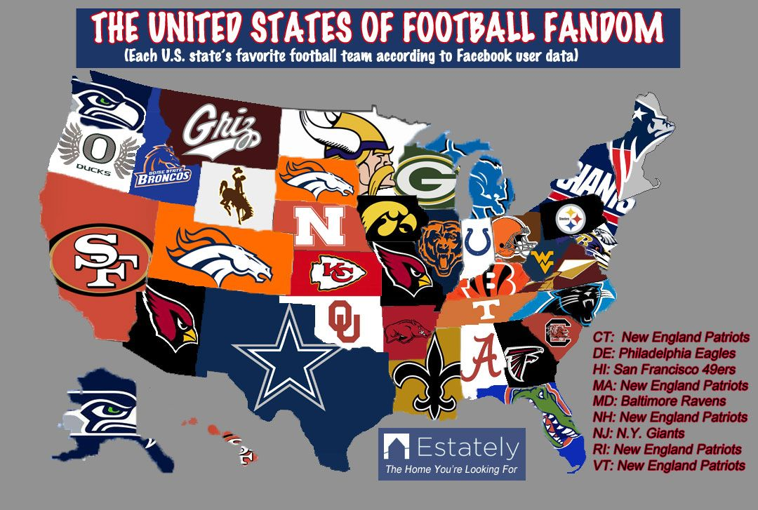 united states map of football teams Are You Ready For Some (Maps About) Football? | Football, Usa