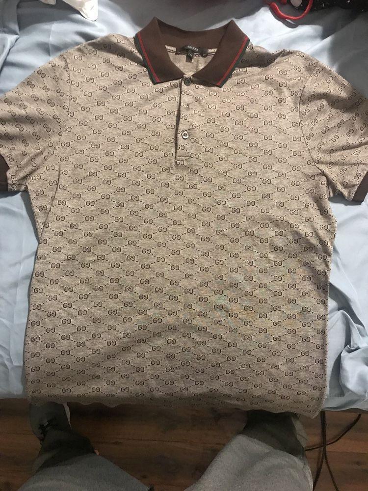 e69f191d Authentic GUCCI Polo Shirt Mens Sz. Xl Brown s/s T- Shirt GG Print $475  Retail #fashion #clothing #shoes #accessories #mensclothing #shirts