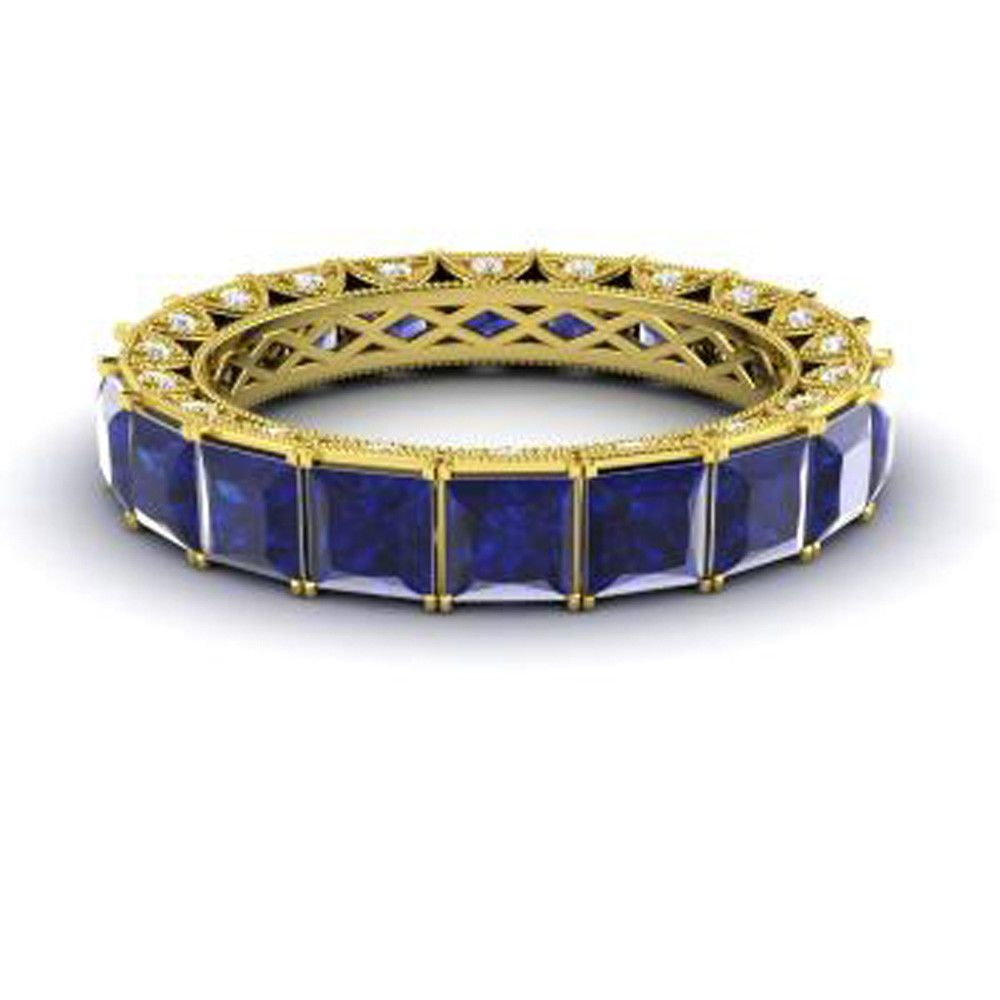 14k yellow gold real 440ct blue sapphire eternity band