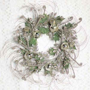 """Holiday Wreath W/bells 24""""d Polyester By Melrose International"""