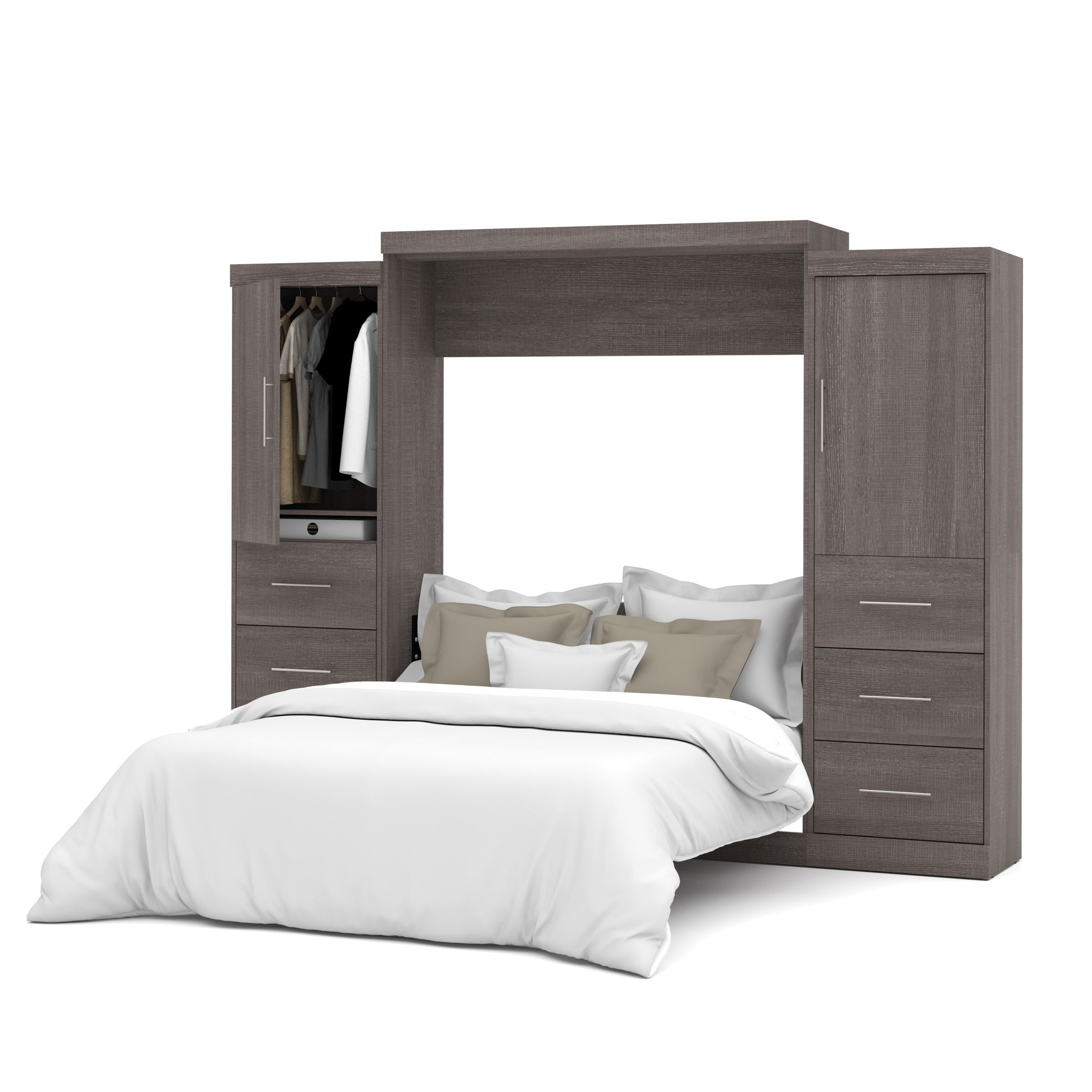 Best Nebula By Bestar Queen Wall Bed With Two 25 Storage Units 400 x 300