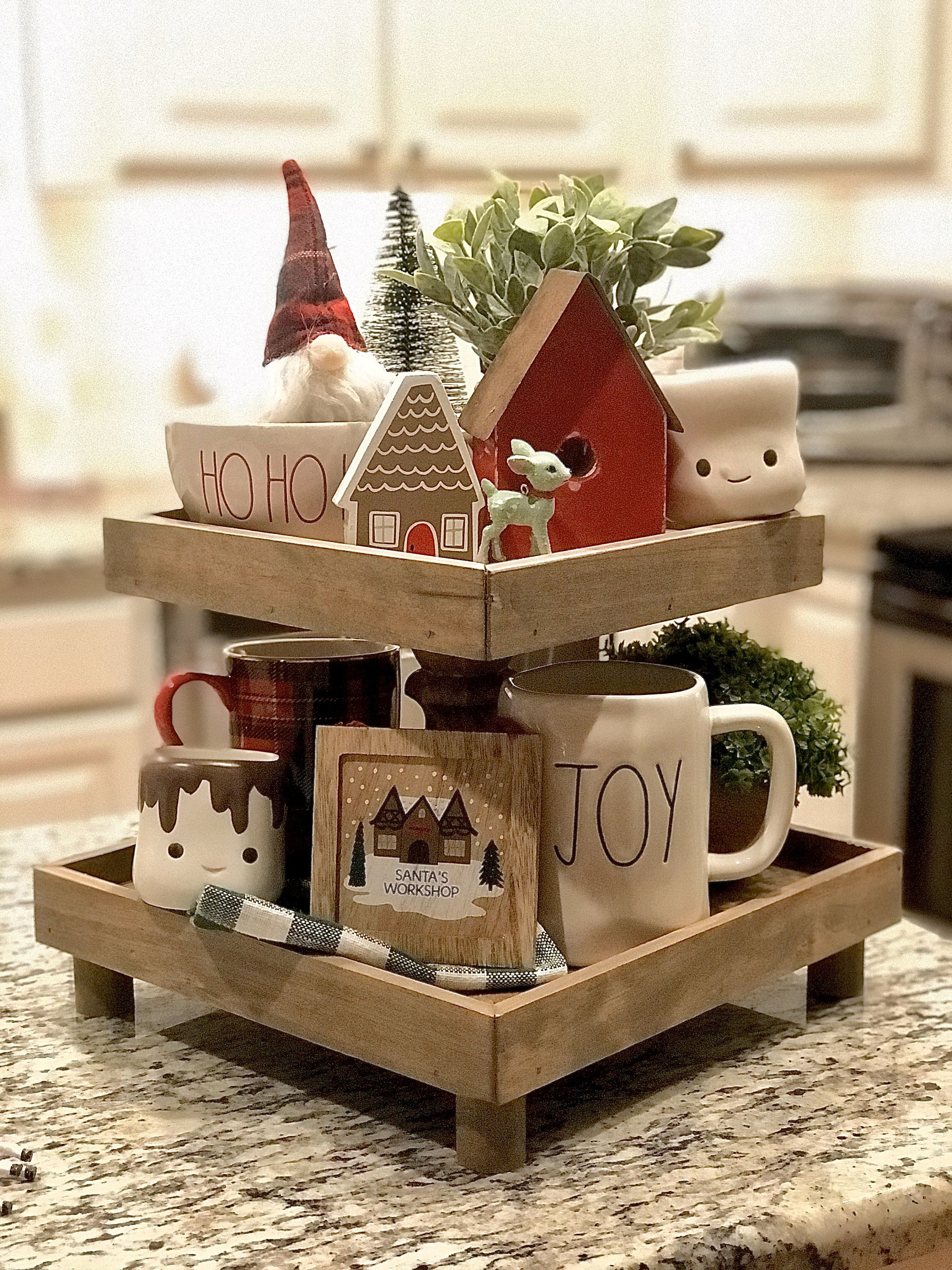 Tiered Tray Tier Tray Wooden Decor Stand Tier Tray Decor Christmas Decor Cake Stand Farmhouse Kitchen Kitchen Display Display Stand Tiered Tray Diy Tray Decor Tiered Tray Decor