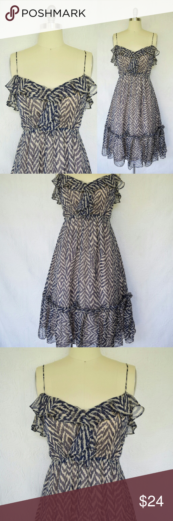 Milly silk peasant ruffle navy animal print dress Beautiful Milly of New York romantic peasant dress. Stunning blue and cream Chevron patterned/ animal print silk. Darling ruffle detail on bodice and hemline.  Great pre-owned condition with no noted flaws.  Size 8 Milly Dresses Midi