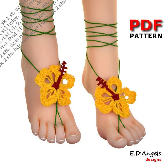 Barefoot sandals | crochet | pattern | bohemian | HIBISCUS flower by ...