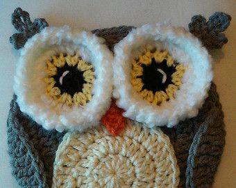 Crochet Winter Owl Potholder Wall Decoration Pattern Only Handarbeit Stricken Und Hakeln Hakeln