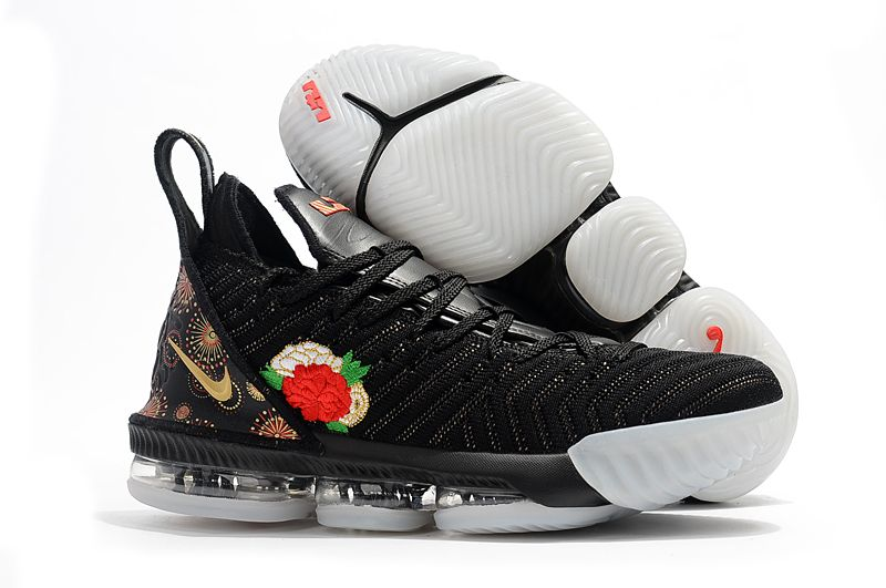 "half off b69ab cd7f0 Nike LeBron 16 ""Chinese New Year"" Black University Red White-Metallic Gold"