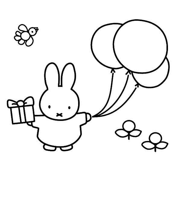 Kleurplaten Nijntje Met Ballon.Miffy Bring Gifts And Balloons Miffy Coloring Pages Kleurplaten