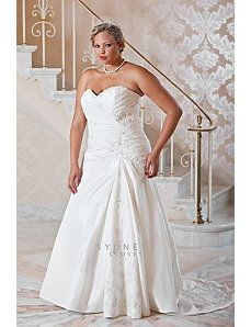 Plus size luxury taffeta fit and flare wedding gown by Sydney's Closet $ 498.00 - $ 528.00