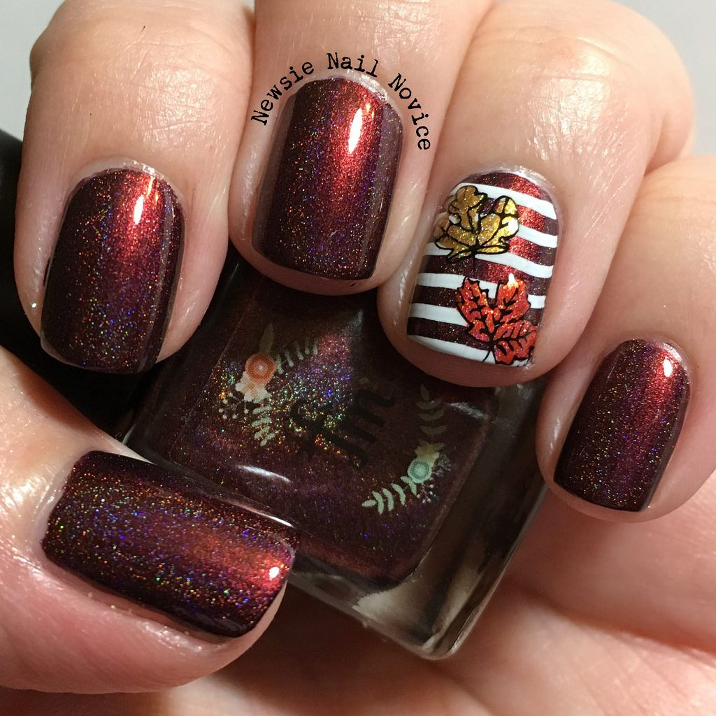fall leaves nail art, double stamping, fall leaves, leaves mani | Re ...