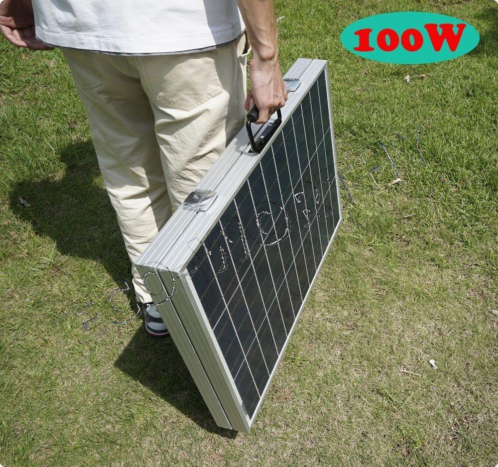 100w Suitcase Folding Solar Panel Portable Kit Diy For Camping Solar Trailer Portable Solar Panels Solar Panel Kits Diy Solar Panel
