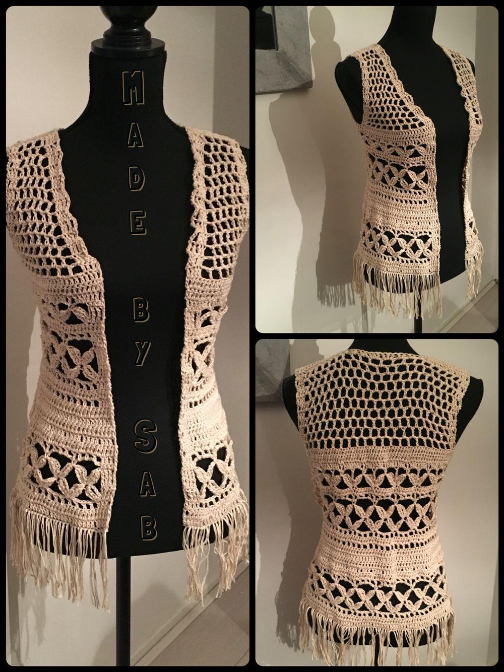 Boho Vestje Zomer Zandkleurig Gehaakt Naar Patroon Van Trippy Hippy Crochet Afghan Pattern Kingdom Garnstudio