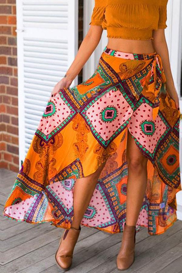 8a5b8b6aa8 Yellow Tribal Print Asymmetrical Vintage Maxi Skirt   My Saves ...