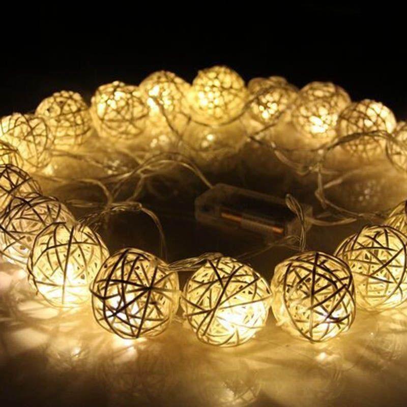 20 LED 250 cm Blanco Caliente Cadena de Bolas de Ratán Luces de ...