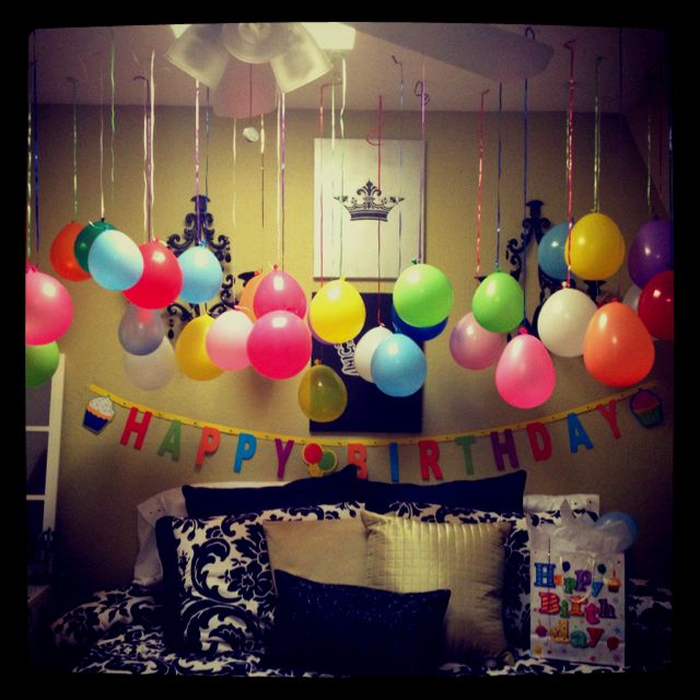 DIY bedroom birthday balloons ) Party time Birthday surprise boyfriend, Birthday surprises