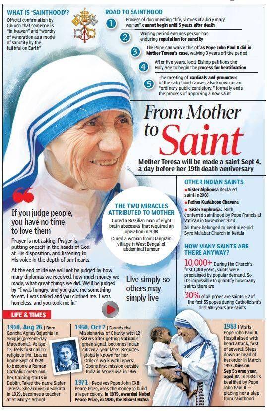 September 4 – today Mother Teresa of Calcutta becomes St Teresa of Calcuta…