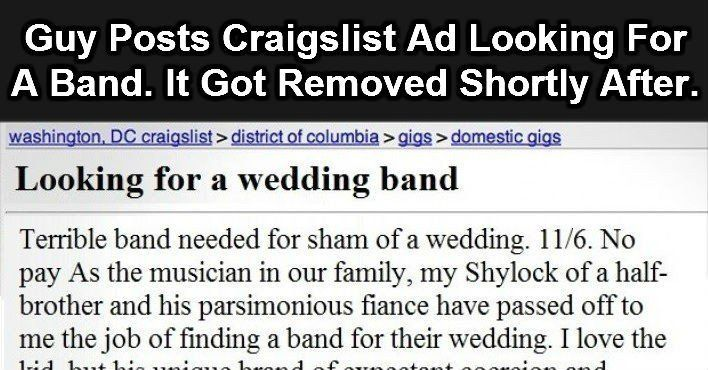 This Craigslist Ad Got Immediately Banned When You Read It You Ll See Why How To Remove Ads Reading
