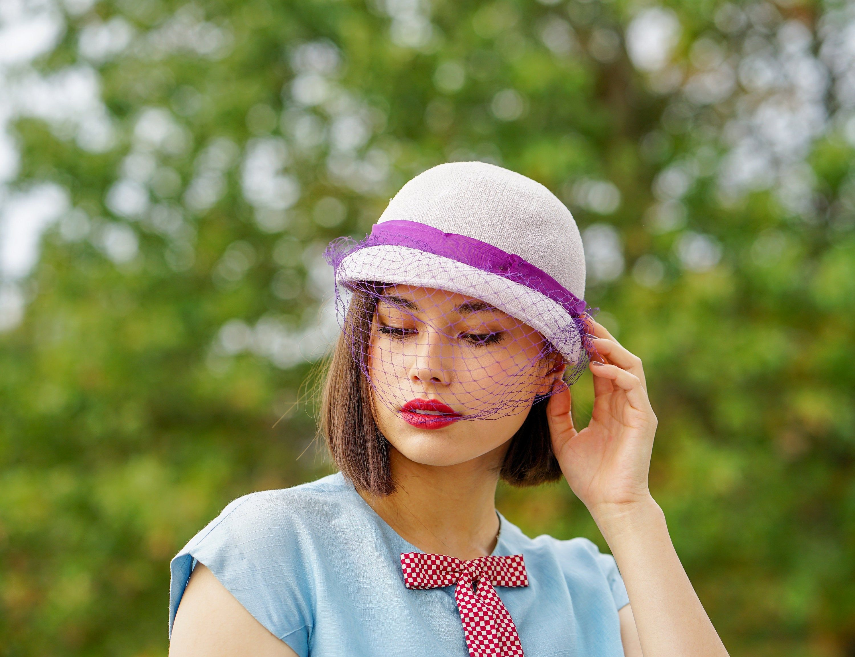 Vintage sailor straw hat for girls.