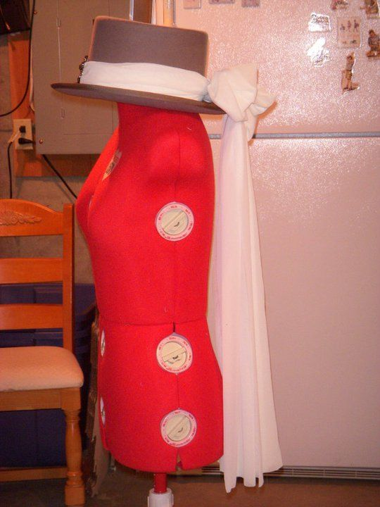 Joanie Stubbs Hat Vintage Top Hat With Chiffon Fabric Chiffon