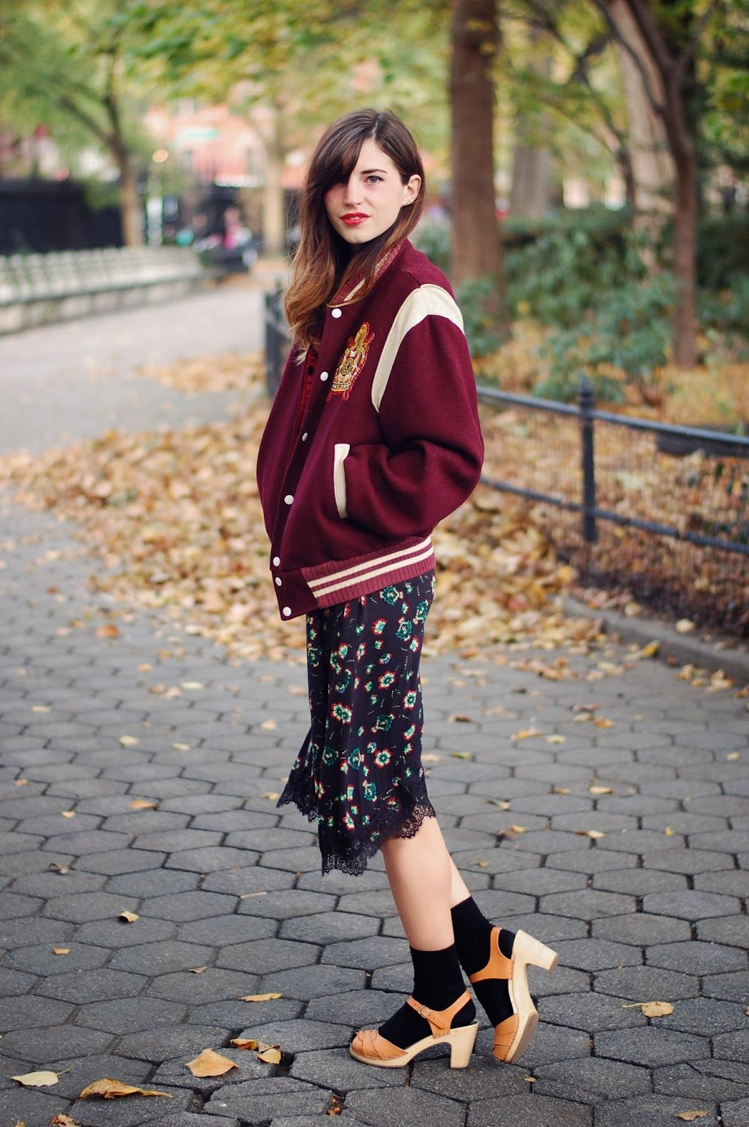 6ac94685c86 Varsity Jacket in 2019   Emilee Anne   Clogs outfit, Socks, heels ...