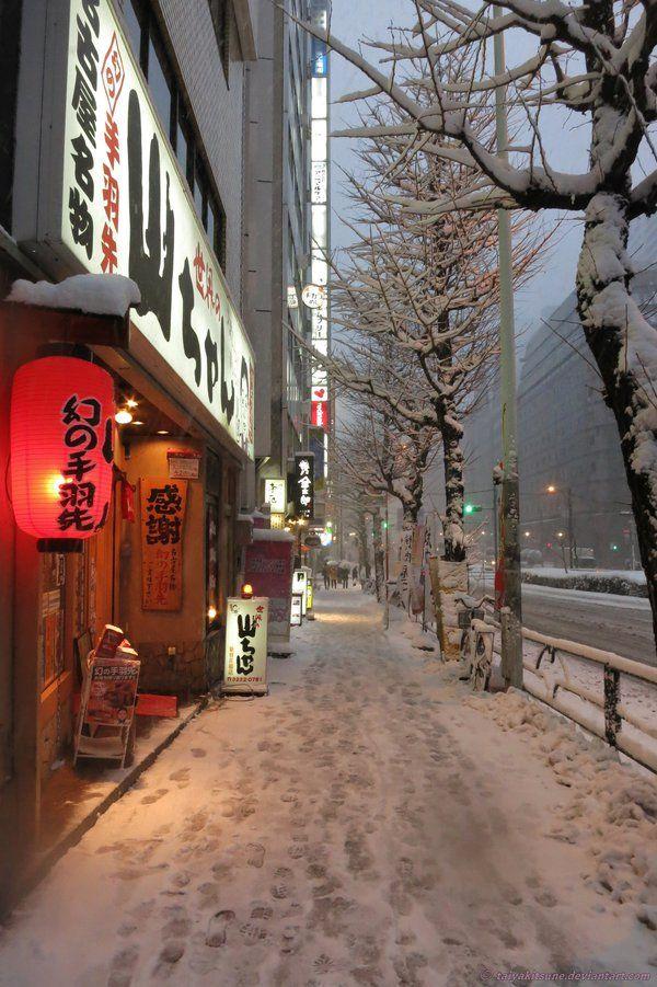 """iesuuyr: """" Snowy Shinjuku #3 by taiyakitsune """""""
