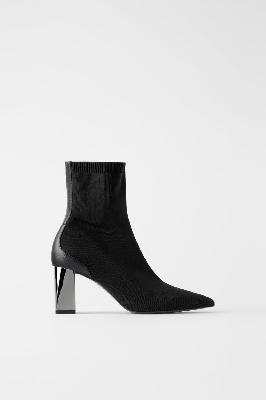 Botki Na Metalizowanym Obcasie Z Elastyczna Cholewka Buty Kobieta Shoes Bags Zara Polska Heels Heel Stretch Boots