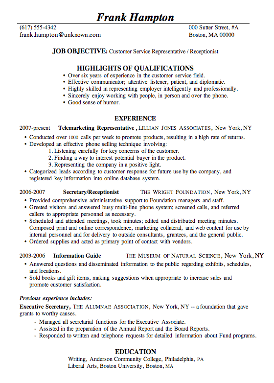 Sample Resumes For Receptionist Prepossessing Resume Examples Receptionist  Sample Resume Receptionist And .
