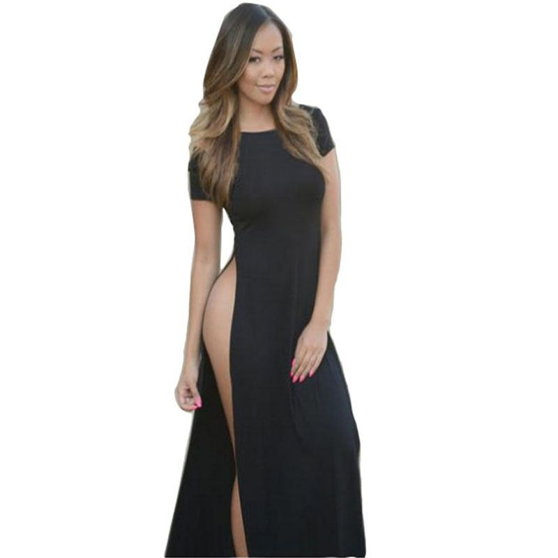 New Womens Celebrity High Quality Cotton Maxi Casual Side Slit Shirt