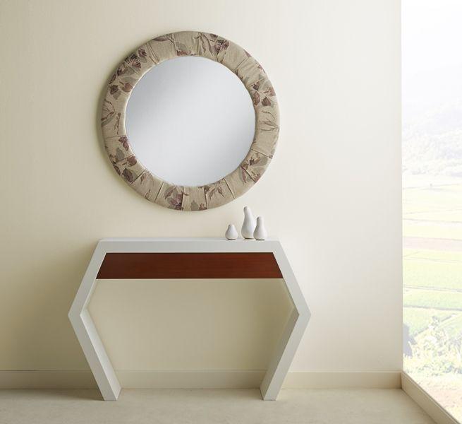 Consola entrada caj n moderna espejo original redondo for Espejos originales para entrada