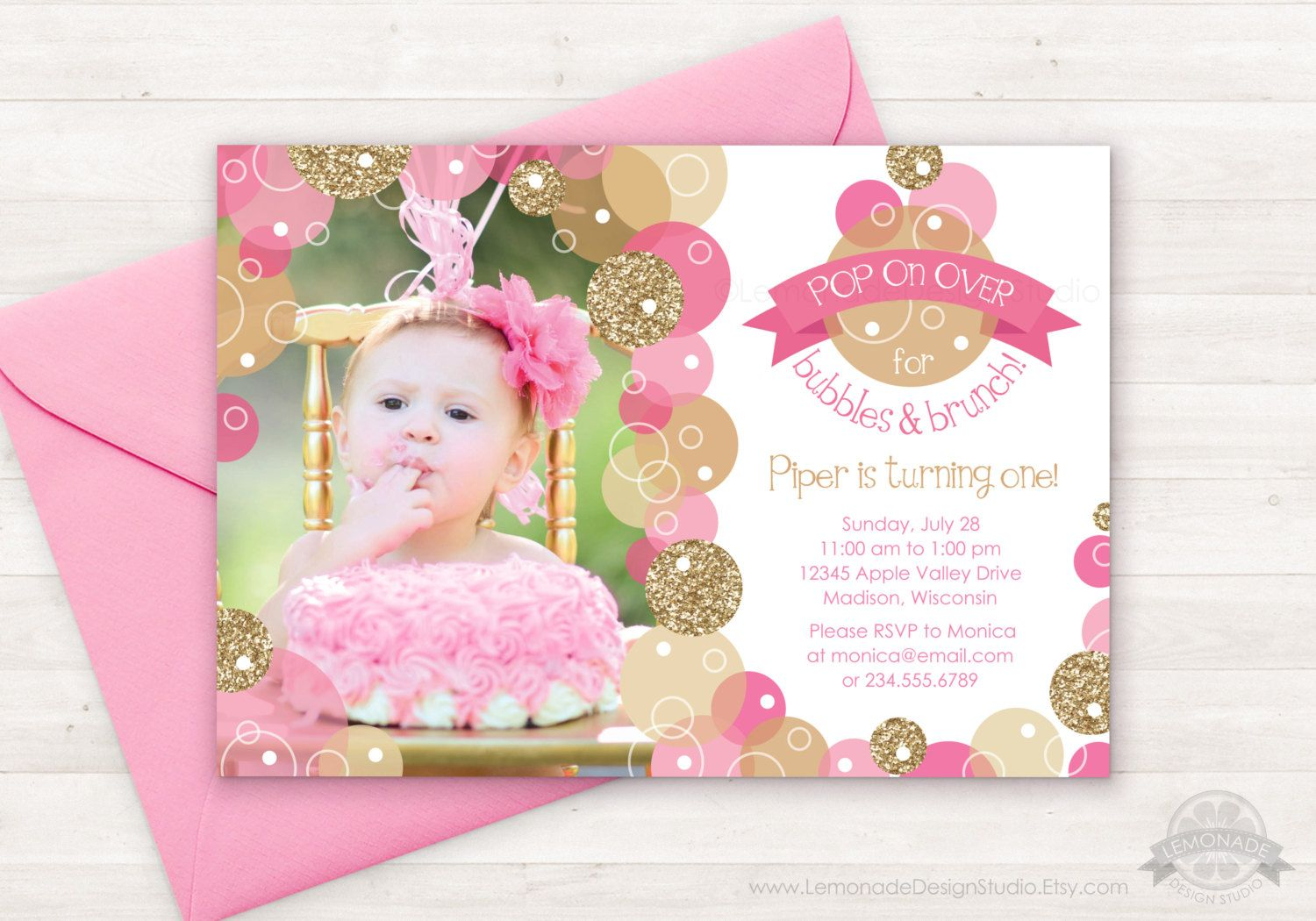 Pink Gold Bubble Invitation Glitter Bubbles Brunch Party Birthday Parties Girl