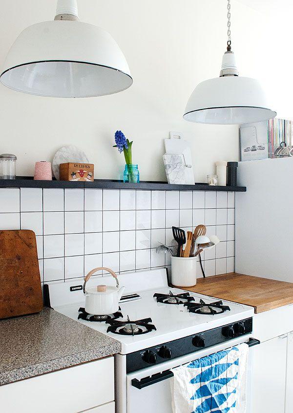 Cuisine Carrelage Blanc Et Joints Noirs BB - Gasiniere a gaz pour idees de deco de cuisine