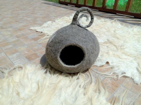Cat Cave Cat Bed Cat House Grey And White Cat By FeltedHomeDeco