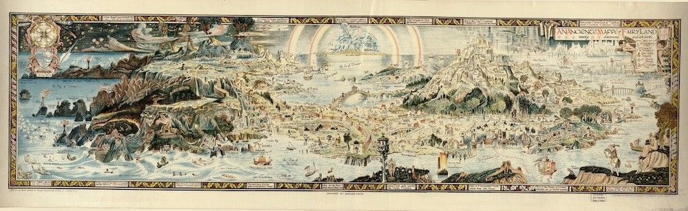 A Beautiful Escapist Map Of Fairyland Published In Britain At The End Of World War I Ancient Maps Fairy Land Fantasy Map