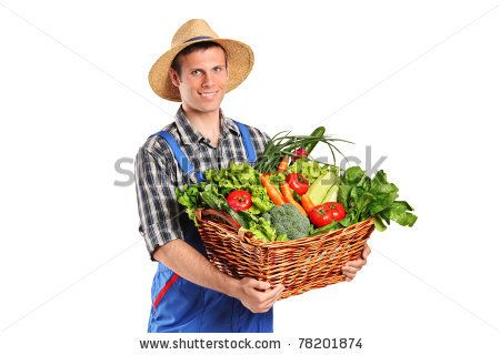 chinese men in straw hats | Smiling farmer holding a basket of vegetables isolated on white ...