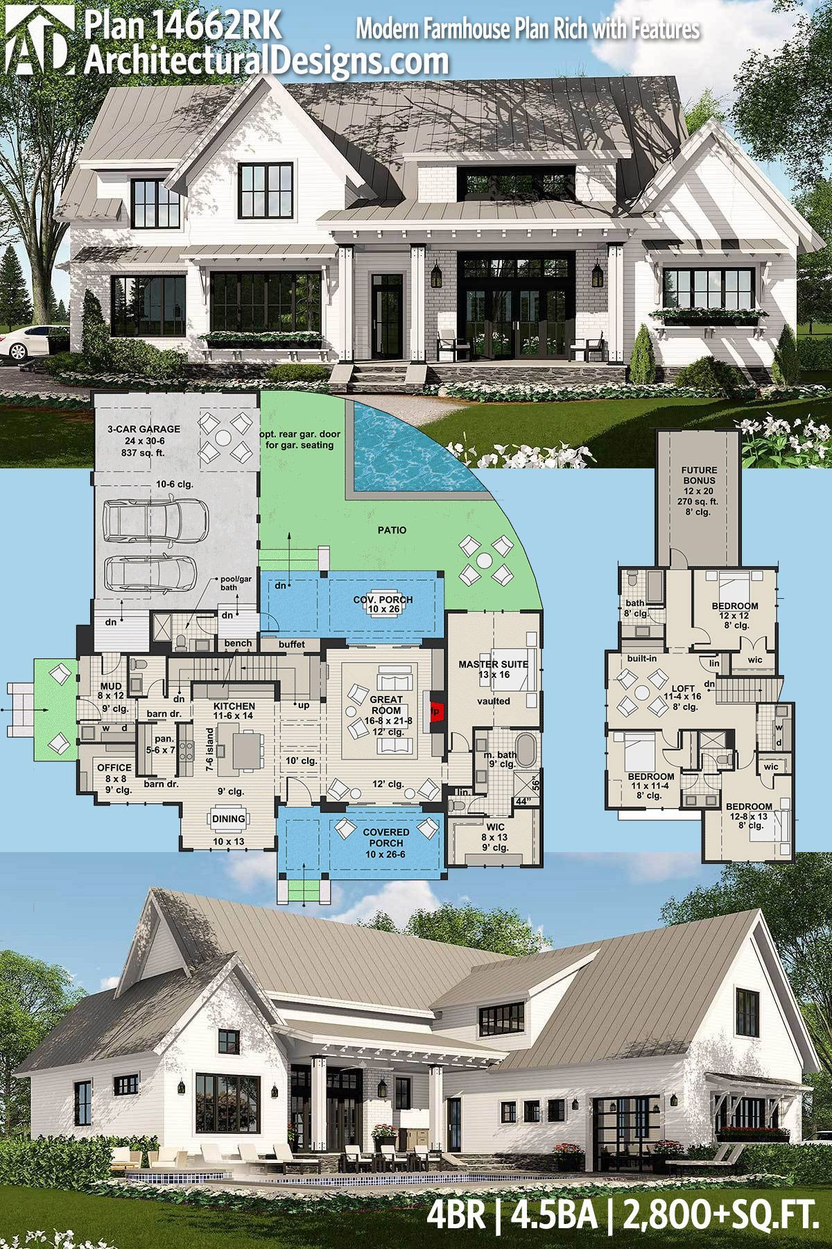 Architectural Designs Modern Farmhouse Plan 14662rk Gives You 4 Beds 4 5 Baths And Over 2 8 Modern Farmhouse Plans House Plans Farmhouse Farmhouse Floor Plans
