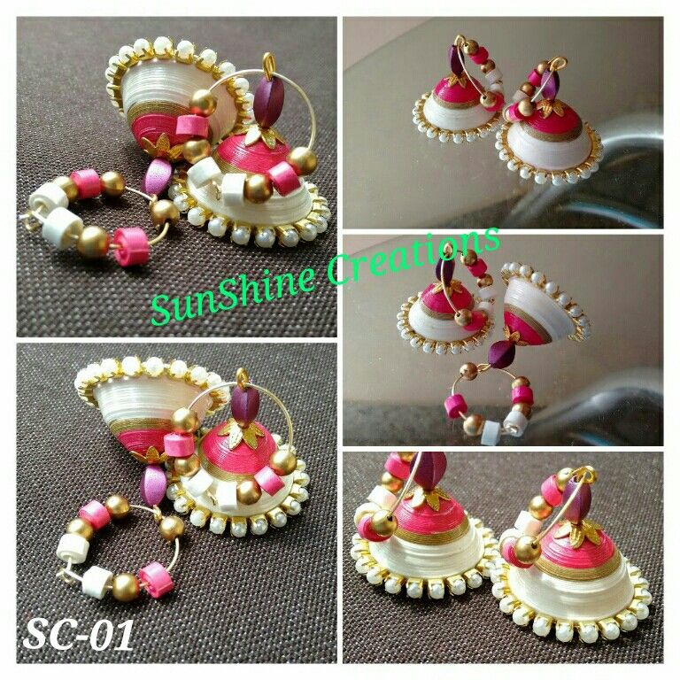 Pink and white Indian Jhumka