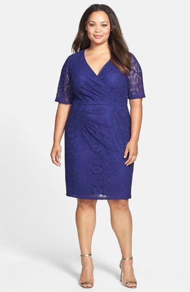 Adrianna Papell Faux Wrap Lace Dress (Plus Size ...