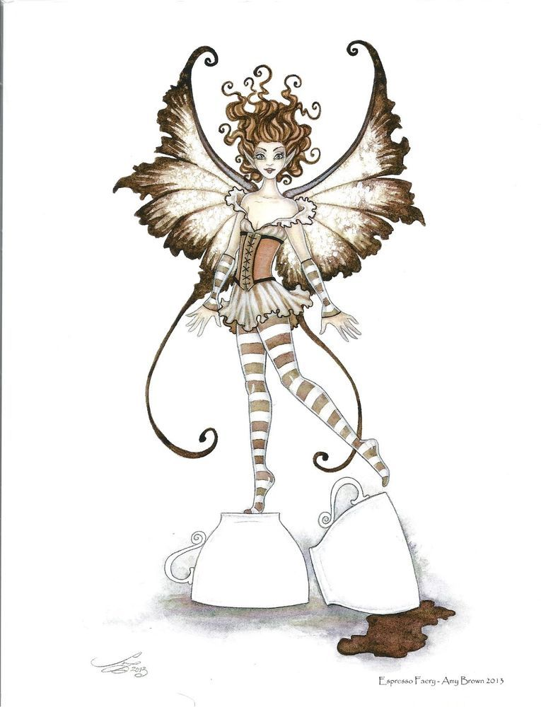 Details about amy brown print espresso faery brown coffee