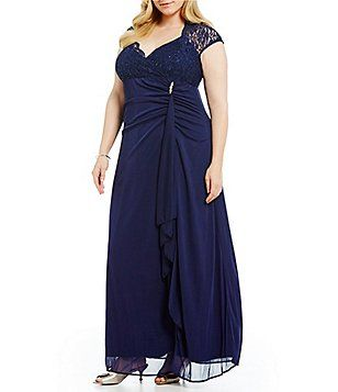 d549dd058a Marina Plus Cap-Sleeve Lace-Top Gown Black Tie Formal