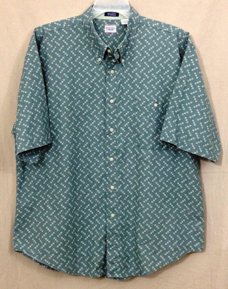 Bugle boy xl green geometric designs casual shirt short sleeve