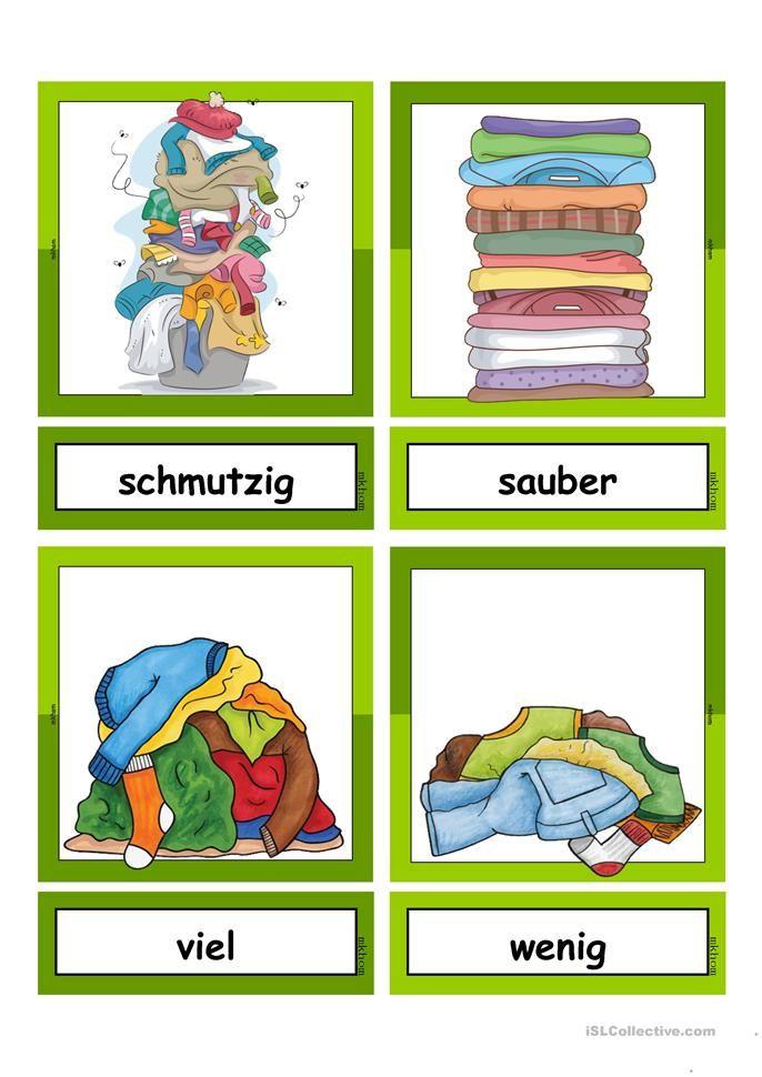 waschtag adjektive flashcards klein gegens tze deutsch unterricht deutsch lernen und. Black Bedroom Furniture Sets. Home Design Ideas