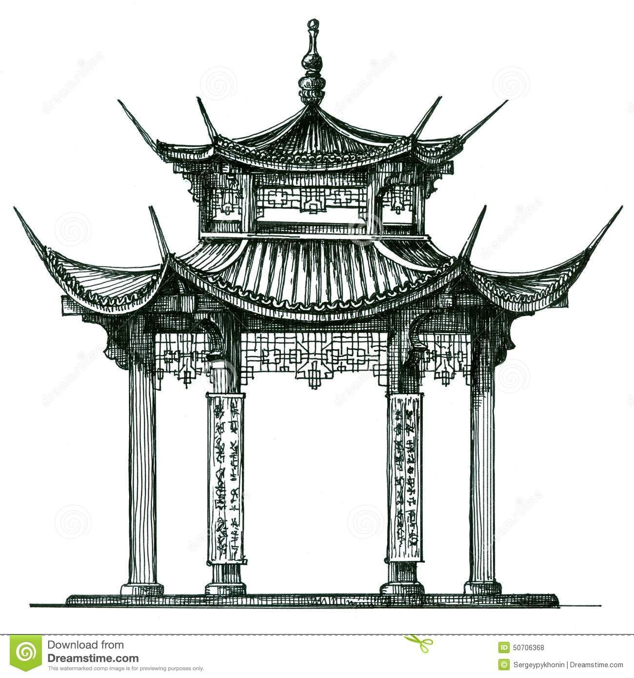 Chinese temple drawing google search tattoos for Architecture chinoise