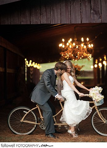 bicycle built for two at barn wedding photo followell. Black Bedroom Furniture Sets. Home Design Ideas