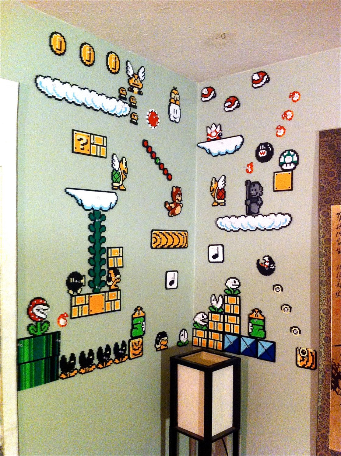 awesome super mario perler fridge magnets planned out super mario brothers 3 world 5 wall scene perler beads by echobasecrafts
