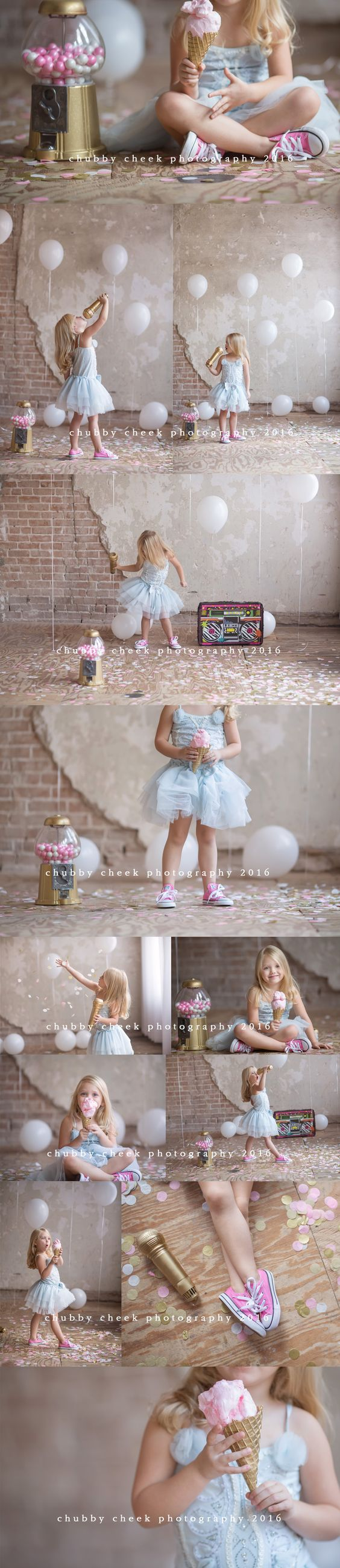 Pretty photos of a little girl with fun props: tutu, ice cream and bubblegum