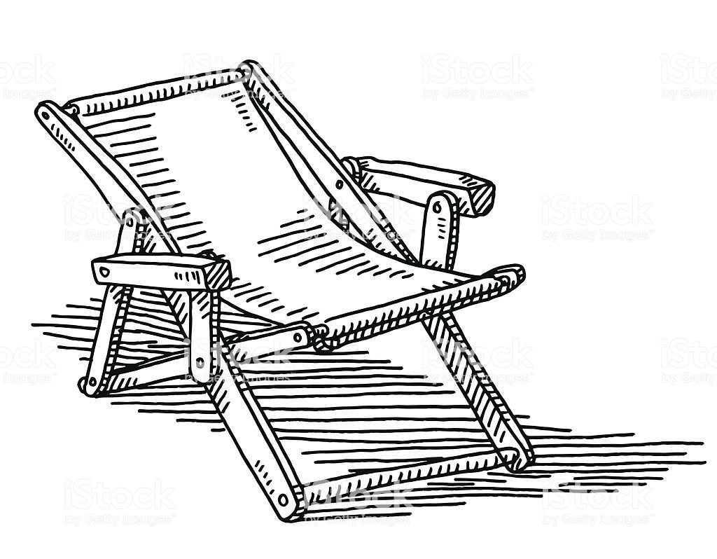 Hand Drawn Vector Drawing Of A Deck Chair Black And White Sketch On Chair Drawing Black And White Sketches Deck Chairs