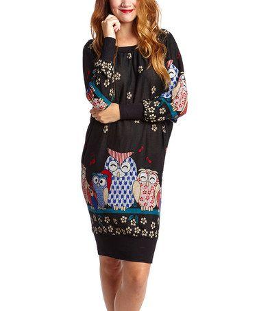 Look what I found on #zulily! Black & Blue Owl Dolman Dress #zulilyfinds