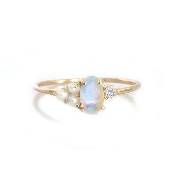 b9da8b762 14KT Gold Opal, Diamond and Pearl Sundae Ring   Earings   Jewelry ...