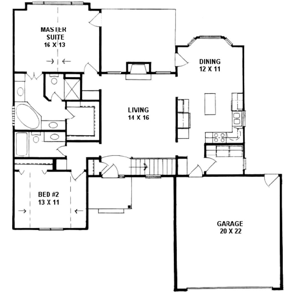 Traditional Style House Plan 2 Beds 2 Baths 1287 Sq Ft Plan 58 162 House Plans Ranch House Plan Country House Plans